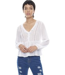 blusa manga larga bordado blanco  corona