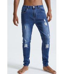 hombre azul botón liso diseño bragueta con cremallera rasgada jeans