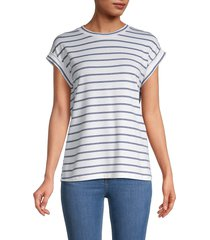pure navy women's striped tee - navy white - size l