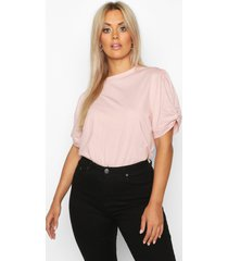 plus ruched knot puff sleeve t-shirt, blush