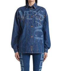 versace logo oversize denim shirt jacket, size 8 us in 1d100 dark blue at nordstrom