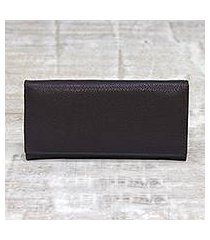 leather wallet, 'stylish woman in espresso' (india)