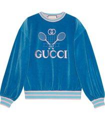 gucci sweatshirt with gucci tennis - blue