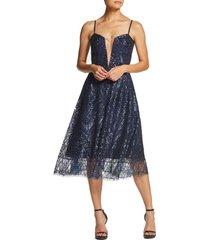 women's dress the population leona art deco sequin fit & flare dress, size medium - blue
