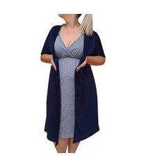 conjunto plus size camisola de alcinha coraçáo com robe pós parto linda gestante