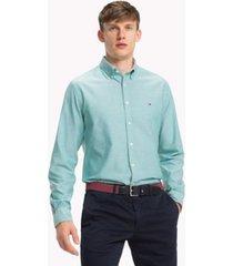 tommy hilfiger men's sandwashed oxford shirt ultramarine green - xl