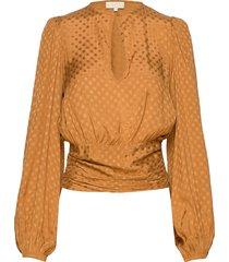 satin jacquard blouse blus långärmad orange by ti mo