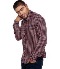 camisa para hombre a cuadros color rojo con gris