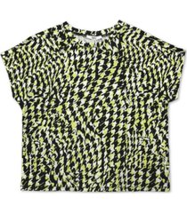 bar iii houndstooth printed cropped t-shirt, created for macy's
