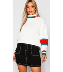 plus roll neck stripe detail sweater, ivory