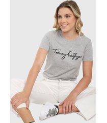 camiseta gris-negro tommy hilfiger