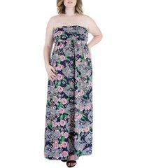 plus size paisley print strapless maxi dress