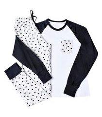 pijama manga longa malha it mom - branco