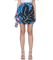 'hannah' floral print ruch cotton mini skirt