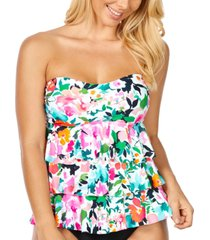 island escape honey bloom tiered ruffled tankini, created for macy's women's swimsuit