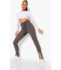 geribbelde leggings met ceintuur en split, charcoal