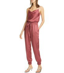 women's cinq a sept finnley twill jumpsuit, size large - pink