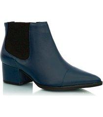 bota couro azul com elásticos
