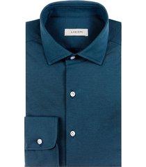 camicia da uomo su misura, maglificio maggia, petrolio piquet cotone seta, quattro stagioni | lanieri