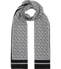burberry monogram print chiffon scarf - black