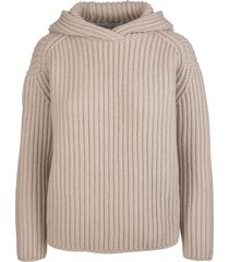 fedeli woman hooded sweater in beige ribbed cashmere