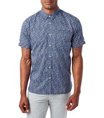 men's 7 diamonds never surrender slim fit short sleeve button-down sport shirt, size small - blue