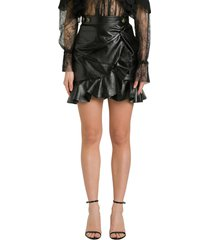 self-portrait faux leather mini skirt wuith ruffles