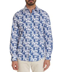 robert graham men's cuts de rosa print shirt - blue - size s