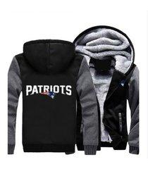 new england patriots hoodie zip up jacket coat winter warm black and gray