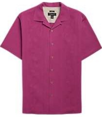 pronto uomo berry floral weave camp shirt