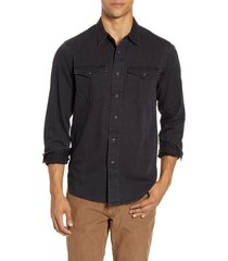 men's madewell black wash western shirt, size x-small - black