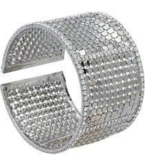 bracciale bangle con strass in metallo rodiato color argento per donna