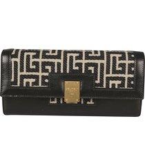 balmain signature logo flap long wallet