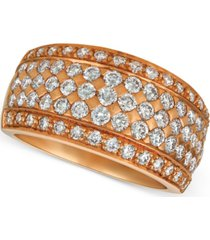 le vian diamond pave wide multi-row ring (1-1/2 ct. t.w.) in 14k rose gold