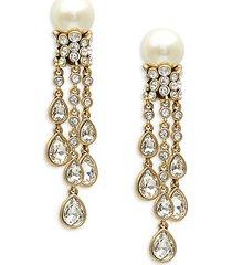 goldtone, glass pearl & crystal drop earrings