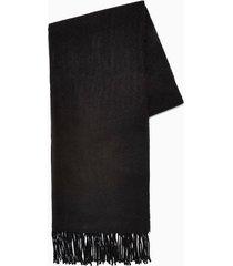 mens black plain woven scarf