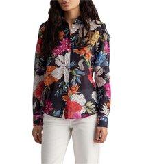 d2. humming floral co/silk shirt