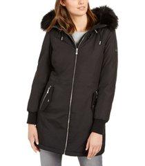 calvin klein faux-fur-trim hooded anorak coat