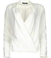 kreukvrije stretch blouse sangria  wit