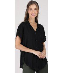 camisa feminina com bolso manga curta preta