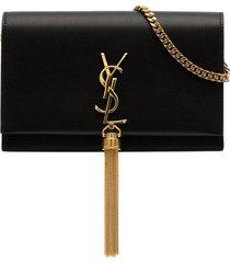 saint laurent kate tassel chain wallet - black