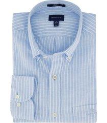 gant overhemd lichtblauw gestreept regular fit