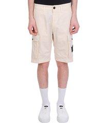 stone island shorts in beige cotton