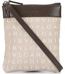 bulgari pre-owned logo-embroidered crossbody bag - brown