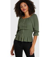 blusa botones delanteros con cintura fruncida y cuello cuadrado verde