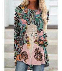 camicetta casual a maniche lunghe con stampa a cartoni animati per donna
