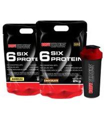 kit 2x 6 six protein 2kg (1 chocolate + 1 baunilha) + coqueteleira – bodybuilders