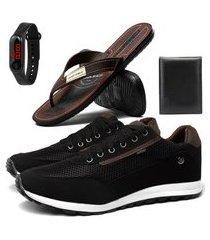 combo de tênis masculino sapatênis com chinelo, carteira e relógio sapatofran preto