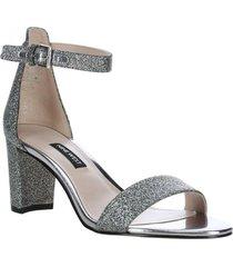 sandalia pruce plateada glitter mujer nine west