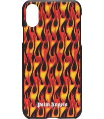 palm angels flame-print iphone x case - black